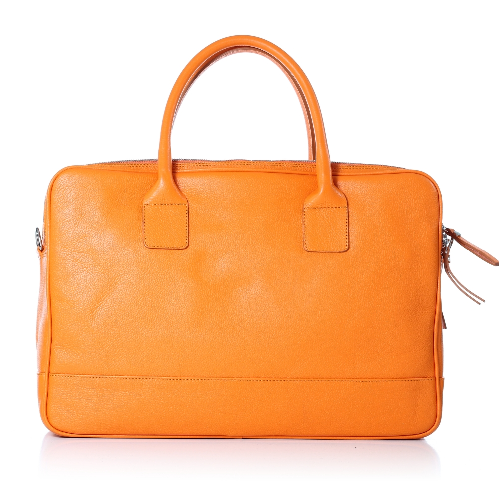 Business-Handtasche, Rindsleder Madras, orange