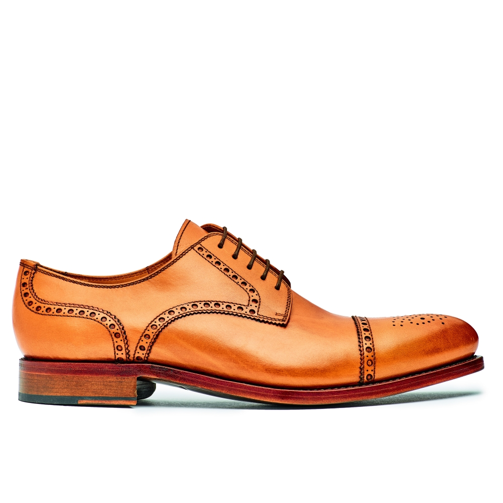 Rahmengenähter Derby Halfbrogue in cognac